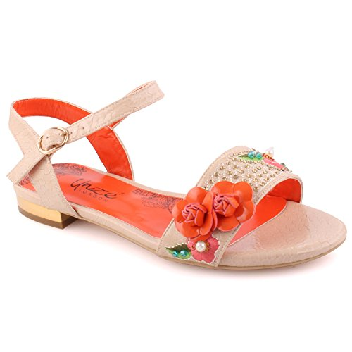 3 together Soiree Festival Uk Unze Toe Sling Decorated Ankle Accented Women 8 Carnival Sandals Sequins Flat Party Get 'stecy' Flower Mid On Beige Strap Slip Ladies Size qRqwS6OB
