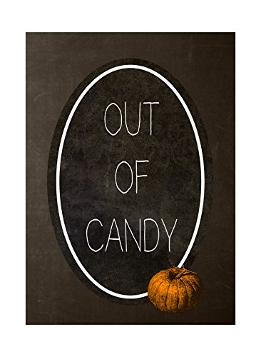 Out Of Candy Print Pumpkin Picture Chalkboard Vintage Design Halloween Seasonal Decoration Sign -