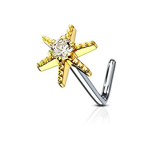 20G CZ Centered Starburst 316L Surgical Steel L Bend Nose Stud Ring - Choose Color (Gold) (Starburst 22 Steel Starburst)