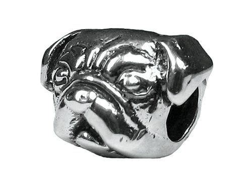 Zable Sterling Silver Pug Pandora Compatible Bead/Charm (Pug Sterling Silver)