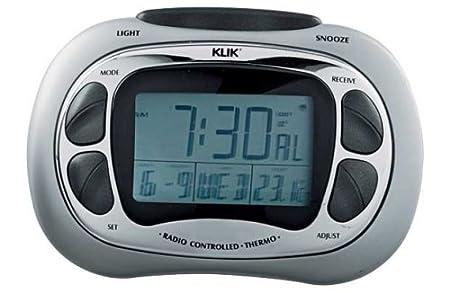 klik radio controlled large screen lcd alarm clock n b 025523120 rh amazon co uk
