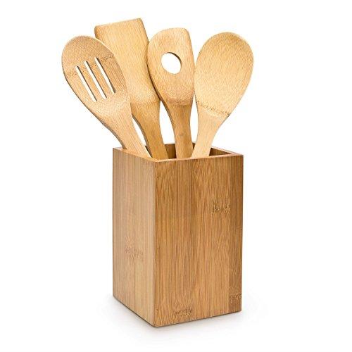 Relaxdays Küchenhelfer Set Bambus 5-teilig je 30 cm als Kochlöffel Set aus Holzlöffel Rührkelle Lochkelle und Pfannenwender mit Halter HBT 16 x 10 x 10 cm als Kochbesteck Küchenutensilien, natur