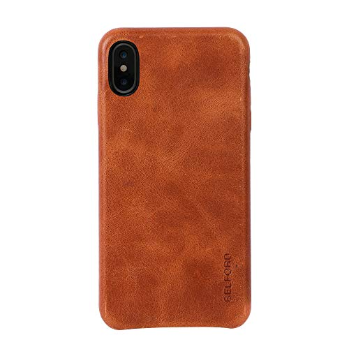 iPhone Xs Max Case Leather BELFORD Protective iPhone Xs Max Case Genuine Leather Ultra Slim Vintage Designer Shell Back Cover for Apple iPhone Xs Max 6.5'' (2018) Tan Crunch
