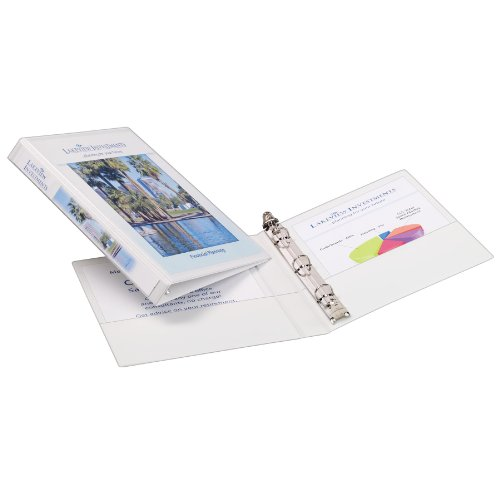 White Durable Vinyl Binder (Avery Mini Durable View Binder for 5.5 x 8.5 Inch Pages, 0.5 inch Round Ring 1 Binder - White (27726))