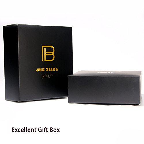 Men Designer Belt Sliding Buckle Ratchet Belt 35mm Wide 1 3/8'' Great Gift Idea by Jun Xiang (Image #4)