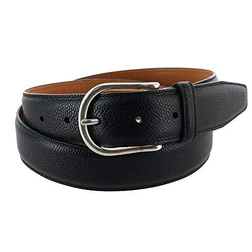 CrookhornDavis Men's Princeton Pebble Calfskin Leather Belt, 40, Black (Black Calfskin Belt Strap)