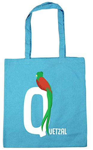 HippoWarehouse Q is for quetzal alphabet animal Tote Shopping Gym Beach Bag 42cm x38cm, 10 litres Surf Blue