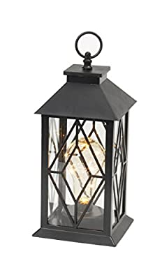 "11"" Black Plastic Patio Table Outdoor LED Lantern 10 Micro Fairy LED lights"