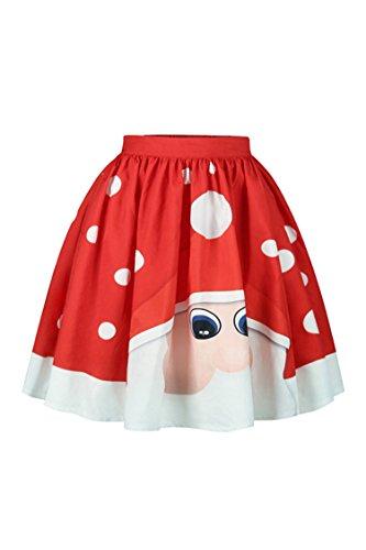 Meenew Women's 3D Galaxy Xmas Printed Flared Christmas Santa Cluas Skirt M