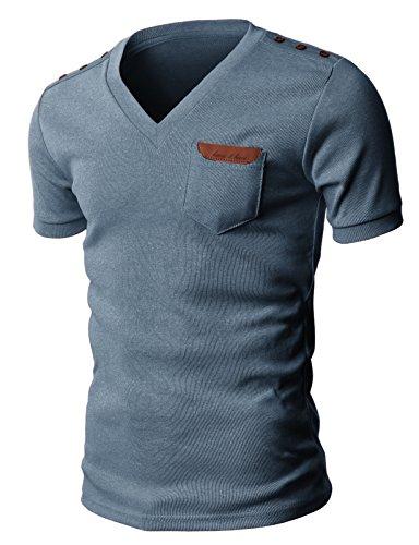 H2H Cotton T shirts Shoulder Leather