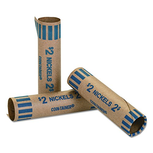 MMF Industries Preformed Tubular Coin Wrappers, Nickels, 1000 Wrappers per Box, Blue (2160600B08)