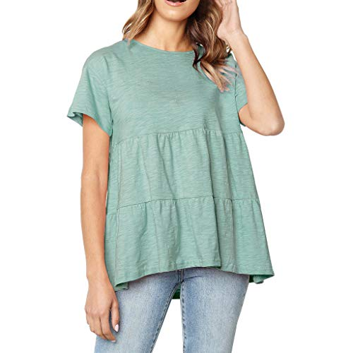 Amlaiworld Women Plus Size Tee Tops Summer T Shirt Solid Flounce O-Neckline Design Short Sleeve Shirt Blouse Tops - Flounce Knit