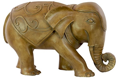 Urban Trends Resin Walking Elephant Statue, Bronze