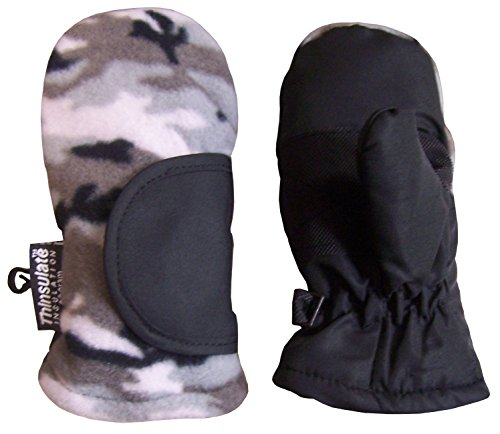 N'Ice Caps Baby Unisex Thinsulate and Waterproof Easy On Velcro Closing Mitten (Grey Camo, 12 months)