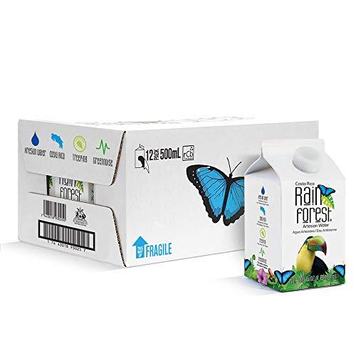 RainForest Artesian Water from Costa Rica. Eco-Friendly Carton Box 16.9 oz / 500ml (12 Pack)