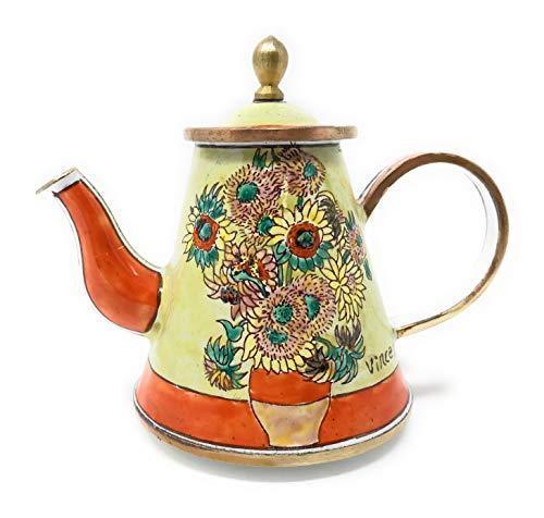 Kelvin Chen Van Gogh Sunflowers Enameled Miniature Teapot, 3.75 Inches Long ()