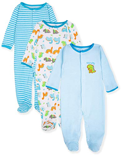 Maybe Baby Kids Infant Boys' and Girls' 3 Pack Cotton Snap Sleep & Play Set w/Footies, 0-3 Months, -