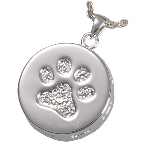 Memorial Gallery Pets 3807s Paw Print and Bones Sterling Silver Cremation Pendant