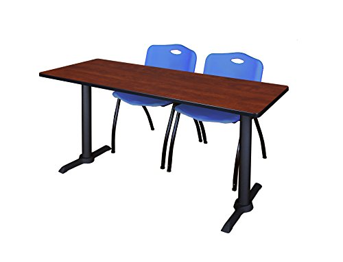 Regency Cain 60'' x 24'' Training Table in Cherry & 2 'M' Stack Chairs in Blue by Regency