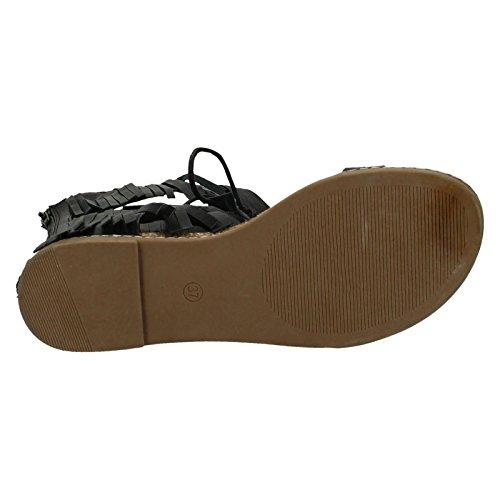 Ladies Savannah Low Wedge Leg Fringe Lace Up Sandal Black q9wvx6ex