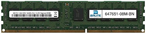 Brute Networks 647651-08M-BN - 8GB PC3-12800 DDR3-1600Mhz 2Rx4 1.5v ECC Registered RDIMM (Equivalent to OEM PN # 647651-08M) by Brute Networks