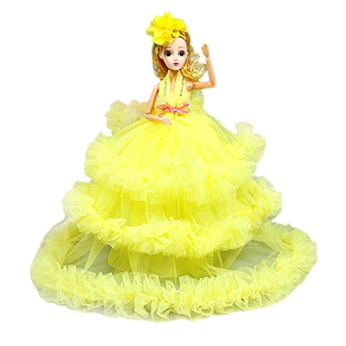 Toy Chest For Girls, 40cm Party Decoratio Toy Dress Princess Doll Pendant Cute Baby Key Ring (yellow)