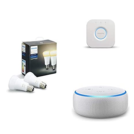 Echo Dot gris claro + Philips Hue White Ambiance - Pack de 2 bombillas LED E27