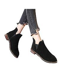 Mikkar Women Shoes Boots Round Toe Booties Suede Square Heel