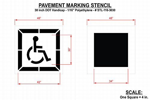 RAE - 30-inch DOT HANDICAP Parking Stencil for use in Parking lot painting, 1/16'' - Duro-Last - STL-116-3030 by Pavement-Prostore (Image #1)