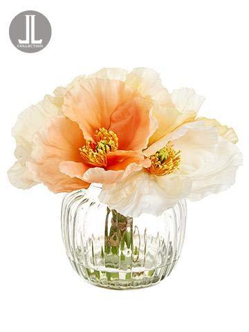 Floral Home Peach Cream Silk Poppy Arrangement in Glass Vase - 7