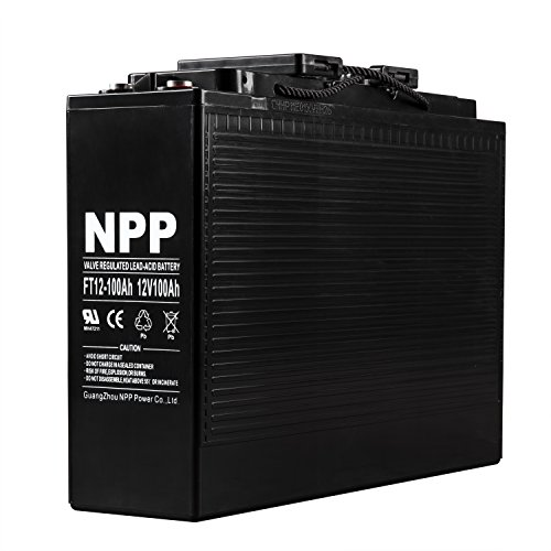 NPP FT12-100Ah Front Access Telecom Deep Cycle AGM 12V 100Ah Battery with Button Style Terminals by NPP