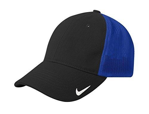 Nike Golf Mesh Back Cap, Medium/Large, Black-Cool Royal