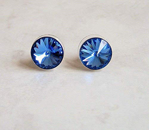 (Blue Simulated Sapphire Blue Round Crystal Stainless Steel Ear Stud Post Earrings Gift Idea )