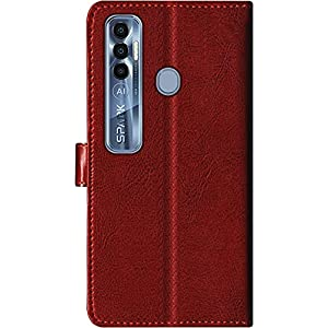 SBMS Tecno Pu Leather Flip Cover Wallet Case Cover for (Tecno Spark 7 Pro, Brown)