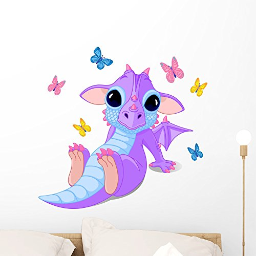 Wallmonkeys Cute Sitting Baby Dragon Wall Decal Peel and Stick Graphic WM324439 (24 in W x 23 in H)