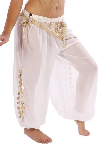 Bellydancer Chiffon Harem Pants with Side Slits | Maiden Dance - White/Gold