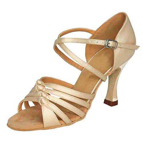 YFF Gift Women dance Shoes Ballroom latin Dance tango dancing shoes 7.5CM,Beige,33