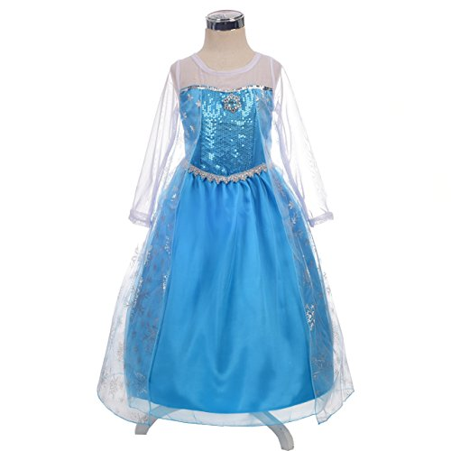 [Dressy Daisy Girls' Princess Elsa Costume Fancy Party Dresses w/ cape draping Size 2T] (Material Girl Fancy Dress Costume)