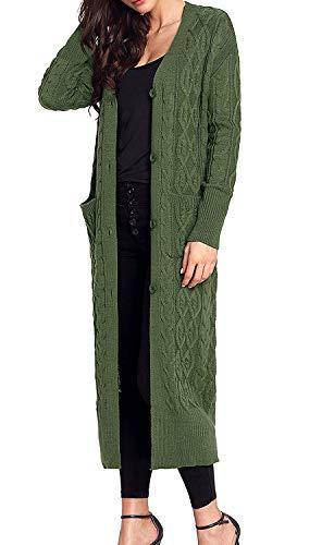 Giacca Cappotto Pullover Giubotto Stlie A Elegante Grün Tempo Libero Con Tasche Colore Lunghe Lunga Single Primaverile Maglia Manica Puro Autunno Grazioso Breasted Outerwear Donna Moda dHAfq4d