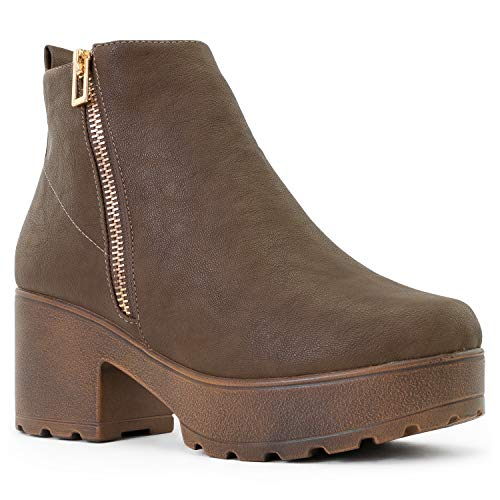 - RF ROOM OF FASHION Women's Vegan Round Toe Light Weight Stacked Heel Platform Side Zipper Ankle Booties Boots Taupe PU (11)
