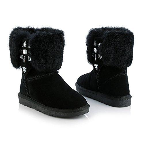 Womens Black Boots Wool Snow Boots Rhinestone Fur Winter Sheepskin Warm AIWEIYi dx4vH6qwH
