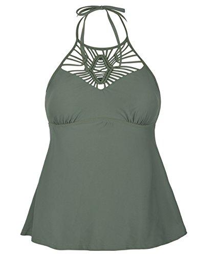 Hilor Women's Macrame Swimsuit Tops High Neck Tankini Swimwear Halter Bathing Suit Top Army Green 20 ()