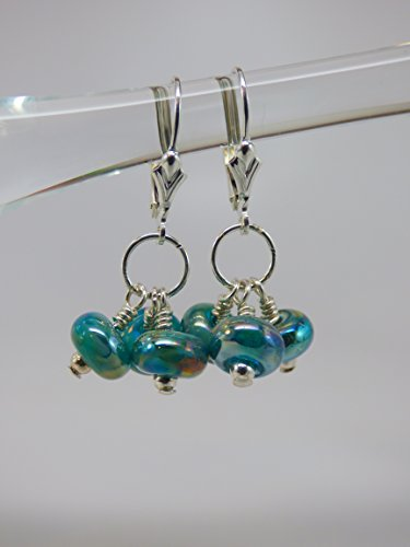 Artisan Iridescent Teal Green Dichroic Bead Triple Drop Earrings with Sterling Silver Leverback Ear Wires and Findings