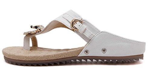 Pantofole Di Strass Da Donna Gemme Scarpe Da Spiaggia Casual Di Jiye Bianco