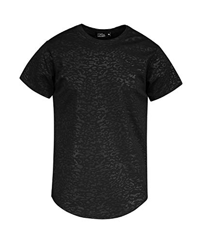0c546add953a4 Saints and Soldiers Men's tee Shirt with Tonal Cheetah Print, Made in Italy  (Black