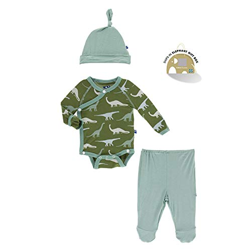 Kickee Pants Little Boys Kimono Newborn Gift Set with Elephant Box - Moss Sauropods, Newborn ()