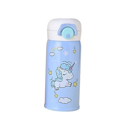 Ruiting Botella Duradera vacío de Acero Inoxidable Copa niños de Dibujos Animados patrón del Unicornio Taza