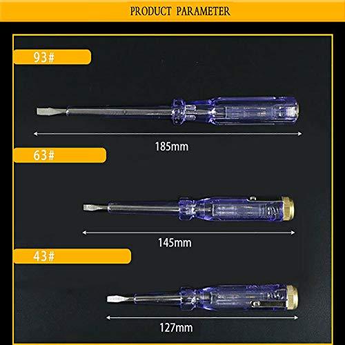 BE-TOOL Lot de 3 stylos testeurs /électriques 100 /à 500 V pour testeur de tension et circuit de test de circuit /électrique de tournevis /électrosonde 127 mm 145 mm 185 mm