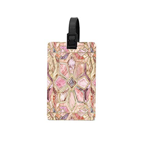 Wbsdfken Geometric Gilded Stone Tiles In Blush Pink Peach And Coral Colorful PVC Pattern Rubber ID Tags Business Card Holder for Luggage Baggage Travel Identifier, Suitcase Label Fun Trip