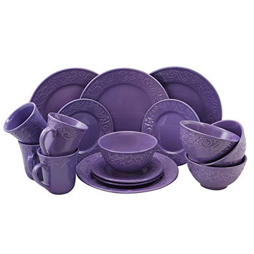 - Dinnerware Set. 16 Piece Round Dinner Dish Kit For 4 Person Violet For Home Kitchen Everyday Dishware, Bowls, Plates, Dining,Mugs Porcelain Tableware Dishwasher, Microwave & Oven Safe.